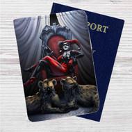 Harley Quinn Custom Leather Passport Wallet Case Cover