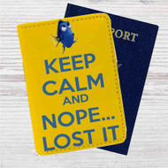 Dory Keep Calm and Nope Lost It Custom Leather Passport Wallet Case Cover