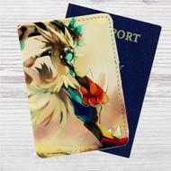Mega Lucario Pokemon Custom Leather Passport Wallet Case Cover