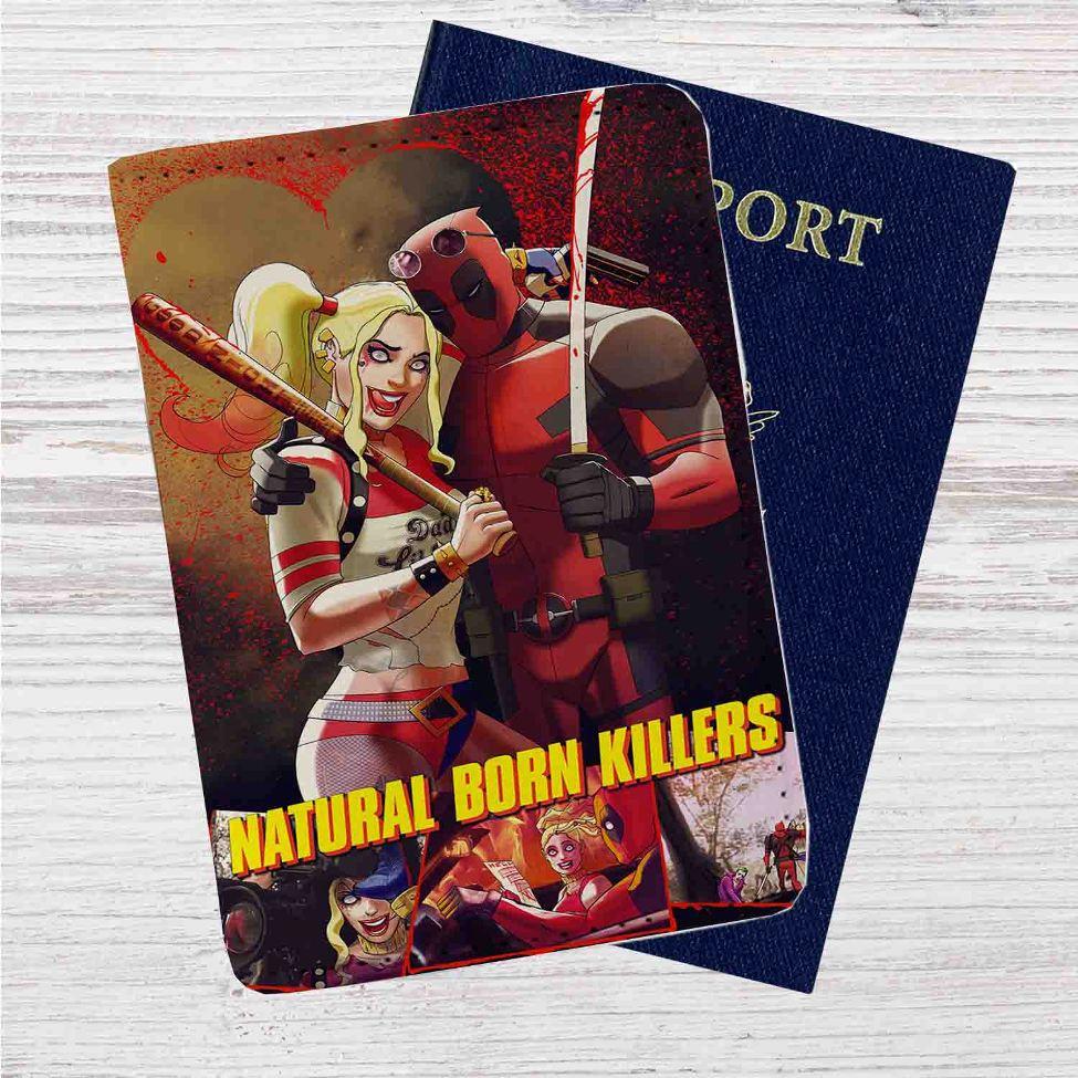 ac48c42621c094 ... Natural Born Killers Deadpool Harley Quinn Custom Leather Passport  Wallet Case Cover. Image 1