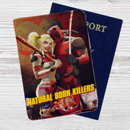 Natural Born Killers Deadpool Harley Quinn Custom Leather Passport Wallet Case Cover
