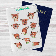 Nick Wilde Face Collage Zootopia Custom Leather Passport Wallet Case Cover