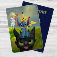 Pikachu Stitch and Toothless Custom Leather Passport Wallet Case Cover