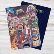 Rick and Morty with Pokemon Custom Leather Passport Wallet Case Cover