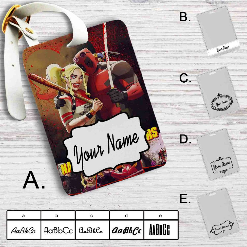 51af49fbd304 Natural Born Killers Deadpool Harley Quinn Custom Leather Luggage Tag