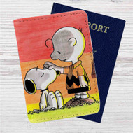 Snoopy and Charlie Brown Custom Leather Passport Wallet Case Cover