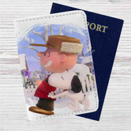 Snoopy and Charlie Brown The Peanuts Movie Custom Leather Passport Wallet Case Cover