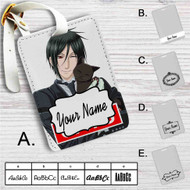 Sebastian Black Butler Cats Custom Leather Luggage Tag
