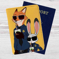 Zootopia Nick and Judy Police Custom Leather Passport Wallet Case Cover