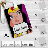 Wonder Woman and Banana Custom Leather Luggage Tag