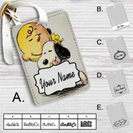 Woodstock Snoopy & Charlie Brown The Peanuts Custom Leather Luggage Tag