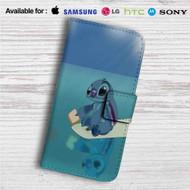 Disney Stitch Custom Leather Wallet iPhone 4/4S 5S/C 6/6S Plus 7  Samsung Galaxy S4 S5 S6 S7 Note 3 4 5  LG G2 G3 G4  Motorola Moto X X2 Nexus 6  Sony Z3 Z4 Mini  HTC ONE X M7 M8 M9 Case