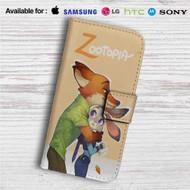 Nick and Judy Zootopia Custom Leather Wallet iPhone 4/4S 5S/C 6/6S Plus 7  Samsung Galaxy S4 S5 S6 S7 Note 3 4 5  LG G2 G3 G4  Motorola Moto X X2 Nexus 6  Sony Z3 Z4 Mini  HTC ONE X M7 M8 M9 Case