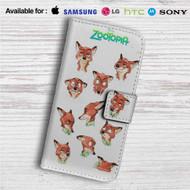 Nick Wilde Face Collage Zootopia Custom Leather Wallet iPhone 4/4S 5S/C 6/6S Plus 7| Samsung Galaxy S4 S5 S6 S7 Note 3 4 5| LG G2 G3 G4| Motorola Moto X X2 Nexus 6| Sony Z3 Z4 Mini| HTC ONE X M7 M8 M9 Case