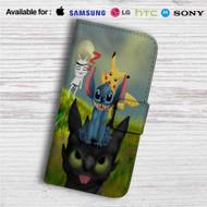 Pikachu Stitch and Toothless Custom Leather Wallet iPhone 4/4S 5S/C 6/6S Plus 7  Samsung Galaxy S4 S5 S6 S7 Note 3 4 5  LG G2 G3 G4  Motorola Moto X X2 Nexus 6  Sony Z3 Z4 Mini  HTC ONE X M7 M8 M9 Case