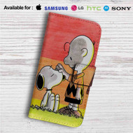 Snoopy and Charlie Brown Custom Leather Wallet iPhone 4/4S 5S/C 6/6S Plus 7| Samsung Galaxy S4 S5 S6 S7 Note 3 4 5| LG G2 G3 G4| Motorola Moto X X2 Nexus 6| Sony Z3 Z4 Mini| HTC ONE X M7 M8 M9 Case