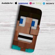 Steve Minecraft Custom Leather Wallet iPhone 4/4S 5S/C 6/6S Plus 7| Samsung Galaxy S4 S5 S6 S7 Note 3 4 5| LG G2 G3 G4| Motorola Moto X X2 Nexus 6| Sony Z3 Z4 Mini| HTC ONE X M7 M8 M9 Case