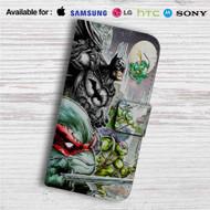 Teenage Mutant Ninja Turtles and Batman Custom Leather Wallet iPhone 4/4S 5S/C 6/6S Plus 7| Samsung Galaxy S4 S5 S6 S7 Note 3 4 5| LG G2 G3 G4| Motorola Moto X X2 Nexus 6| Sony Z3 Z4 Mini| HTC ONE X M7 M8 M9 Case