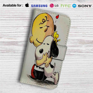 Woodstock, Snoopy & Charlie Brown The Peanuts Custom Leather Wallet iPhone 4/4S 5S/C 6/6S Plus 7  Samsung Galaxy S4 S5 S6 S7 Note 3 4 5  LG G2 G3 G4  Motorola Moto X X2 Nexus 6  Sony Z3 Z4 Mini  HTC ONE X M7 M8 M9 Case