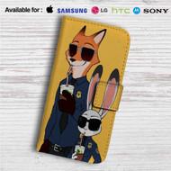 Zootopia Nick and Judy Police Custom Leather Wallet iPhone 4/4S 5S/C 6/6S Plus 7  Samsung Galaxy S4 S5 S6 S7 Note 3 4 5  LG G2 G3 G4  Motorola Moto X X2 Nexus 6  Sony Z3 Z4 Mini  HTC ONE X M7 M8 M9 Case