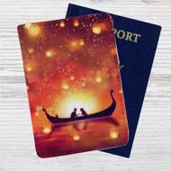 Disney Tangled Night Romantic Custom Leather Passport Wallet Case Cover