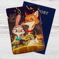 Disney Zootopia Dancing Custom Leather Passport Wallet Case Cover