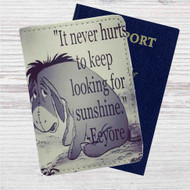 Eeyore Winnie The Pooh Quotes Custom Leather Passport Wallet Case Cover