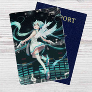 Hatsune Miku Vocaloid Custom Leather Passport Wallet Case Cover