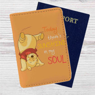 Pooh There's Sunshine in My Soul Disney Custom Leather Passport Wallet Case Cover