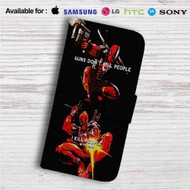 Deadpool Guns Dont Kill People Custom Leather Wallet iPhone 4/4S 5S/C 6/6S Plus 7| Samsung Galaxy S4 S5 S6 S7 Note 3 4 5| LG G2 G3 G4| Motorola Moto X X2 Nexus 6| Sony Z3 Z4 Mini| HTC ONE X M7 M8 M9 Case