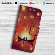 Disney Tangled Night Romantic Custom Leather Wallet iPhone 4/4S 5S/C 6/6S Plus 7| Samsung Galaxy S4 S5 S6 S7 Note 3 4 5| LG G2 G3 G4| Motorola Moto X X2 Nexus 6| Sony Z3 Z4 Mini| HTC ONE X M7 M8 M9 Case