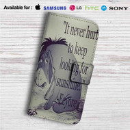 Eeyore Winnie The Pooh Quotes Custom Leather Wallet iPhone 4/4S 5S/C 6/6S Plus 7| Samsung Galaxy S4 S5 S6 S7 Note 3 4 5| LG G2 G3 G4| Motorola Moto X X2 Nexus 6| Sony Z3 Z4 Mini| HTC ONE X M7 M8 M9 Case