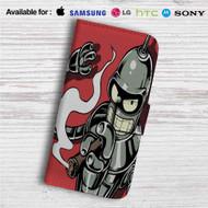 Futurama Bender Smoke Custom Leather Wallet iPhone 4/4S 5S/C 6/6S Plus 7  Samsung Galaxy S4 S5 S6 S7 Note 3 4 5  LG G2 G3 G4  Motorola Moto X X2 Nexus 6  Sony Z3 Z4 Mini  HTC ONE X M7 M8 M9 Case