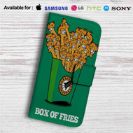 Futurama Fry Box of Fries Custom Leather Wallet iPhone 4/4S 5S/C 6/6S Plus 7  Samsung Galaxy S4 S5 S6 S7 Note 3 4 5  LG G2 G3 G4  Motorola Moto X X2 Nexus 6  Sony Z3 Z4 Mini  HTC ONE X M7 M8 M9 Case