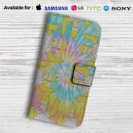 Homer The Simpsons Tie Die Custom Leather Wallet iPhone 4/4S 5S/C 6/6S Plus 7  Samsung Galaxy S4 S5 S6 S7 Note 3 4 5  LG G2 G3 G4  Motorola Moto X X2 Nexus 6  Sony Z3 Z4 Mini  HTC ONE X M7 M8 M9 Case