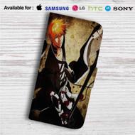 Kurosaki Ichigo Bleach Custom Leather Wallet iPhone 4/4S 5S/C 6/6S Plus 7| Samsung Galaxy S4 S5 S6 S7 Note 3 4 5| LG G2 G3 G4| Motorola Moto X X2 Nexus 6| Sony Z3 Z4 Mini| HTC ONE X M7 M8 M9 Case