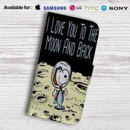 Snoopy Love Moon Custom Leather Wallet iPhone 4/4S 5S/C 6/6S Plus 7  Samsung Galaxy S4 S5 S6 S7 Note 3 4 5  LG G2 G3 G4  Motorola Moto X X2 Nexus 6  Sony Z3 Z4 Mini  HTC ONE X M7 M8 M9 Case