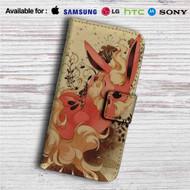 Flareon Pokemon Custom Leather Wallet iPhone 4/4S 5S/C 6/6S Plus 7| Samsung Galaxy S4 S5 S6 S7 Note 3 4 5| LG G2 G3 G4| Motorola Moto X X2 Nexus 6| Sony Z3 Z4 Mini| HTC ONE X M7 M8 M9 Case