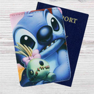 Disney Stitch Face Close Up Custom Leather Passport Wallet Case Cover