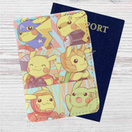 Pikachu as Avengers Characters Custom Leather Passport Wallet Case Cover