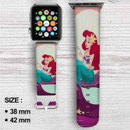 Ariel Mermaid After Eat Custom Apple Watch Band Leather Strap Wrist Band Replacement 38mm 42mm