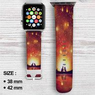 Disney Tangled Night Romantic Custom Apple Watch Band Leather Strap Wrist Band Replacement 38mm 42mm