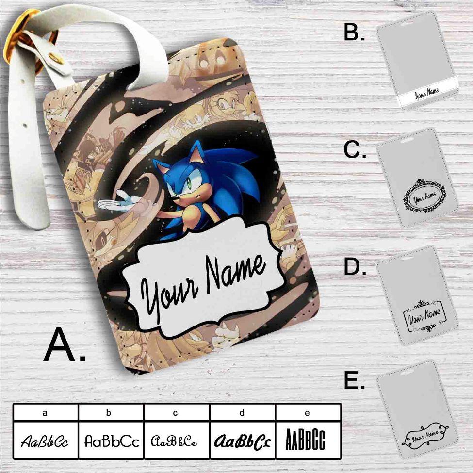 Sonic The Hedgehog Custom Leather Luggage Tag