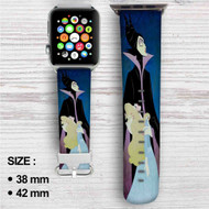 Maleficent and Princess Aurora Disney Custom Apple Watch Band Leather Strap Wrist Band Replacement 38mm 42mm