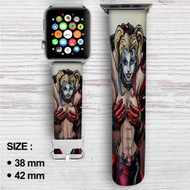 Sexy Harley Quinn Deadpool Custom Apple Watch Band Leather Strap Wrist Band Replacement 38mm 42mm