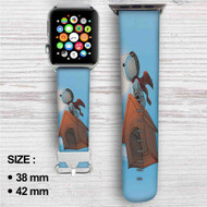 The Peanuts Snoopy Flying Custom Apple Watch Band Leather Strap Wrist Band Replacement 38mm 42mm