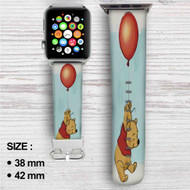 Winnie The Pooh With Ballon Disney Custom Apple Watch Band Leather Strap Wrist Band Replacement 38mm 42mm