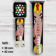 Wonder Woman and Banana Custom Apple Watch Band Leather Strap Wrist Band Replacement 38mm 42mm
