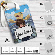 Taichi Yagami and Agumon Digimon Custom Leather Luggage Tag