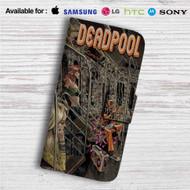 Deadpool on Train Custom Leather Wallet iPhone 4/4S 5S/C 6/6S Plus 7| Samsung Galaxy S4 S5 S6 S7 Note 3 4 5| LG G2 G3 G4| Motorola Moto X X2 Nexus 6| Sony Z3 Z4 Mini| HTC ONE X M7 M8 M9 Case